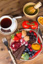 Top view dinner table plate filled antioxidants Royalty Free Stock Photo