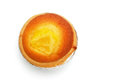 Top view egg tart on white with clipping path Stock Photo