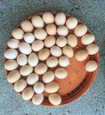 Top view of eggs on table