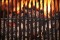 Top view of empty barbecue grill with glowing charcoal and clean flames fire close up Stock Images