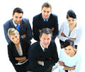 Top view of executives looking up and smiling Stock Photo