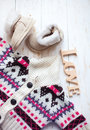 Top view of fashion trendy look of baby clothes Royalty Free Stock Photo