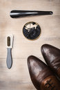 Top view fashionable men`s shoes and accessories