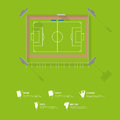 Top view of football stadium or soccer arena. Sport venue in flat design.