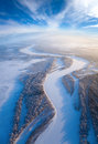 Top view of forest river in winter aerial time day Royalty Free Stock Image