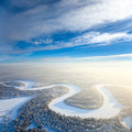 Top view of forest river in winter aerial time day Stock Images