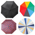 Top view of four different open umbrellas