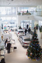 Top view of the foyer with a reception and cars moscow jan volkswagen center varshavka january moscow russia building Royalty Free Stock Photography