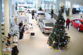 Top view of the foyer with a reception and cars moscow jan volkswagen center varshavka january moscow russia building Royalty Free Stock Photos
