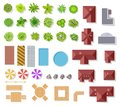 Top view garden elements. Aerial houses, green trees and bushes, pool and benches for landscape architectural plan Royalty Free Stock Photo