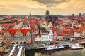Top view on Gdansk old town and Motlawa river, Poland at sunset. Royalty Free Stock Photo