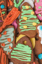 Top view of gingerbread traditional seasonal biscuits Royalty Free Stock Image
