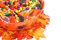 Top view halloween candy bowl Stock Photography