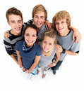 Top view of happy men and women standing Isolated Royalty Free Stock Image