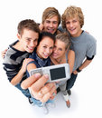 Top view of happy teenagers taking self portrait Stock Photo