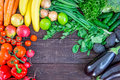 Top View of Healthy Eating Background with Colorful Fresh Organic Vegetables and Herbs, Healthy Food from Garden, Diet or Vegetari Royalty Free Stock Photo