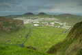 Top view of heimaey westman islands in its campsite golf course and the city Royalty Free Stock Images