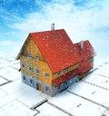 Top view homestead building with layout plan at snowfall Royalty Free Stock Photography