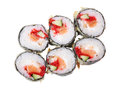 Top view of hot rolls with salmon six eel cucumber tobiko and cheese philadelphia isolated on white background Royalty Free Stock Photography