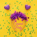 Top view image of funny party head glitter accessory with hearts. Flat lay.