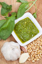 Top view on italian pesto with fresh ingredient Royalty Free Stock Images