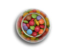 stock image of  Top view of jar with colorful candies on white background with shadow