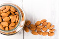 Top view of a jar filled with almonds on white wooden table space for copy text selective focus Royalty Free Stock Photo