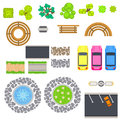 Top view landscape vector isolated objects.