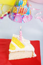 Top View Lemon Birthday Cake Stock Photo