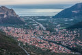 Top view of Leonidio city and Aegean Sea Royalty Free Stock Photo