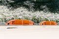 Top view of lifeboats at a big ferry between germany and sweden Stock Photo