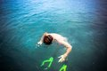 Top view of a man snorkeling in the sea thailand Royalty Free Stock Photo
