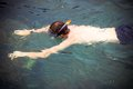 Top view of a man snorkeling in the sea thailand Stock Photo