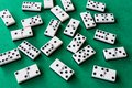 Top view of many domino pieces on green mat to play Royalty Free Stock Photo