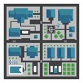 Top view map of the city with streets and houses. View from above. Vector illustration, flat style.