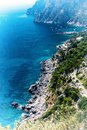 Top view of Marina Piccola bay and Tyrrhenian sea in Capri island - Italy. Royalty Free Stock Photo