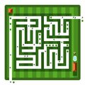 Top View Maze. Vector Aerial View Hedge Labyrinth Royalty Free Stock Photo