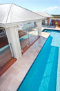 Top view of the modern and luxury swimming pool of a hotel or ho Royalty Free Stock Photo