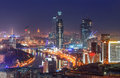 Top view of Moscow city skyline at night Royalty Free Stock Photo