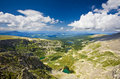 Top view of mountains lakes. Royalty Free Stock Photo