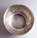 Top view of Old antique  brass bowl. Royalty Free Stock Photo