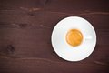 Top of view of one cup of italian espresso coffee on old wood table with space for text Royalty Free Stock Image