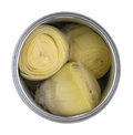 Top view of an open can of artichoke hearts Royalty Free Stock Photo