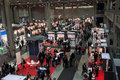 Top view of people and booths at Smau exhibition in Milan, Italy