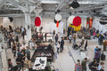 Top view of people and exhibitors at Fuorisalone during Milan De