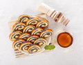 Top view of poppy seed roll slices Stock Photography