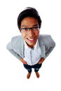 Top view portrait of a smiling asian man isolated on white background Stock Photos