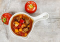 Top view of red soup with fresh vegetables Royalty Free Stock Photo