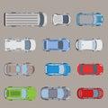 Top view road transport van bus vehicle car flat vector