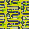 Top view roads and streets seamless vector pattern.
